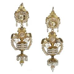 18th Century Pearl Gold Drop Earrings