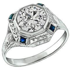 Art Deco 1.61 Carat Diamond Sapphire Gold Ring