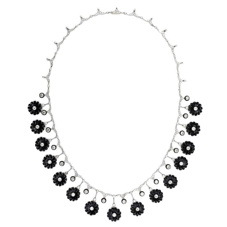 Early Art Deco Onyx Diamond Platinum Flower Necklace For Sale