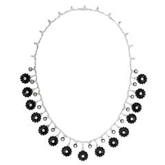 Early Art Deco Onyx Diamond Platinum Flower Necklace