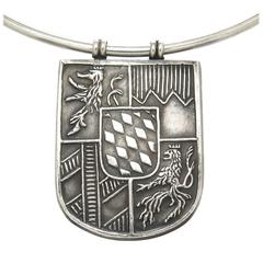 Lalaounis Silver Shield Crest Necklace