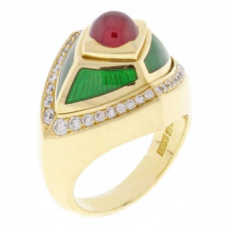 de Vroomen Enamel Ruby Diamond Gold Ring