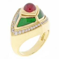 de Vroomen Enamel Ruby Diamond Gold Ring