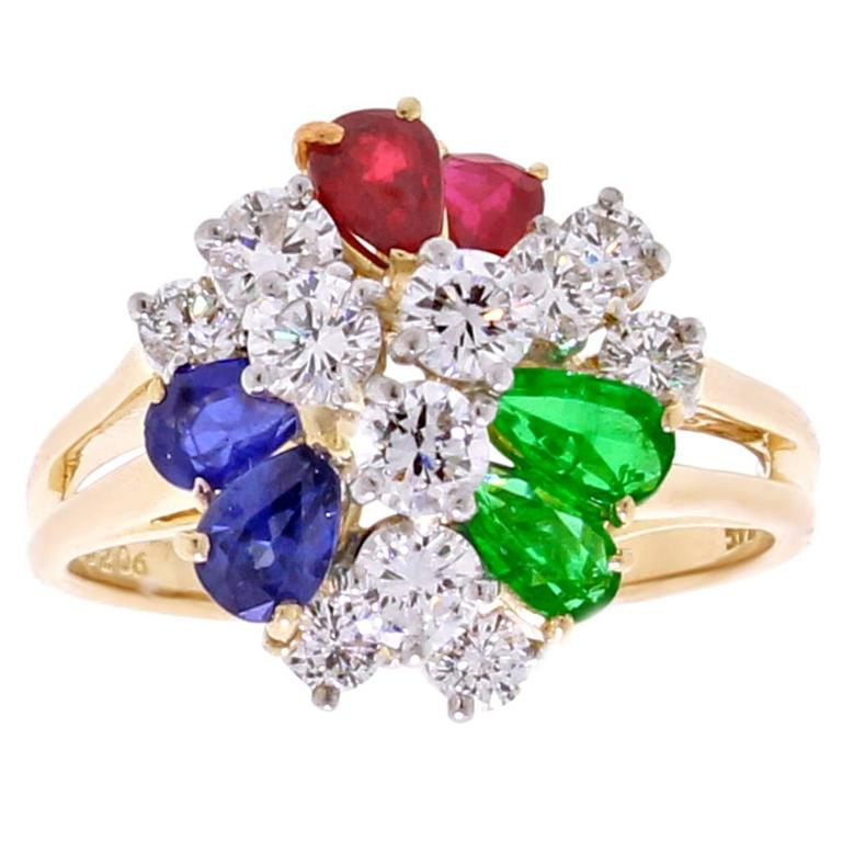 Oscar Heyman Precious Gem Diamond Gold Platinum Ring