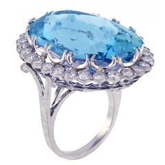 Important Aquamarine Diamond Platinum Ring