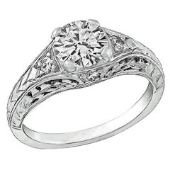 0.77 Carat GIA Cert Diamond Platinum Engagement Ring