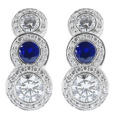 Ratani Sapphire Diamond Platinum Drop Earrings
