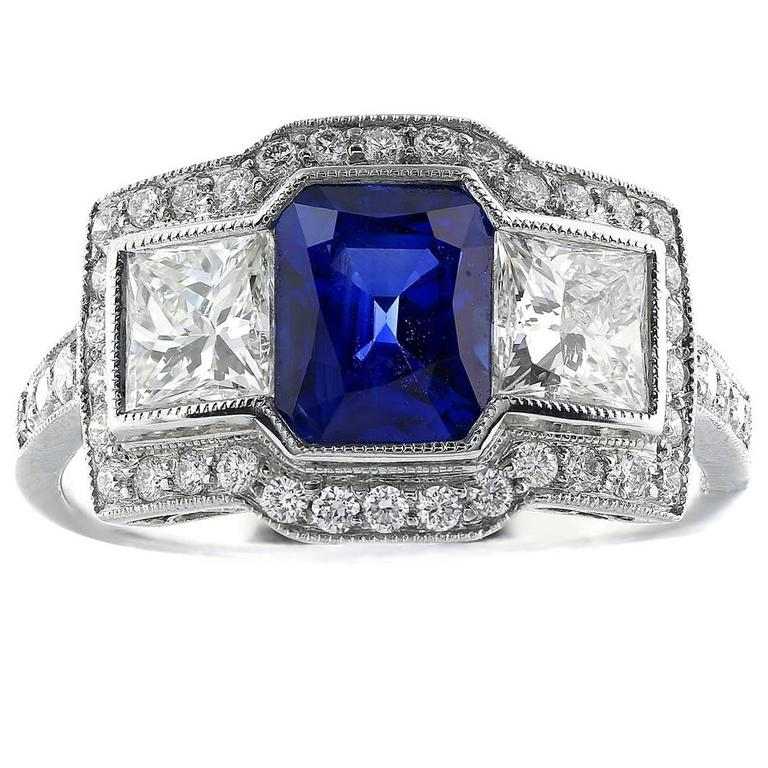 Sapphire Diamond Platinum 3 Stone Ring For Sale