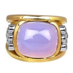 Chalcedony Diamond Gold Band Ring