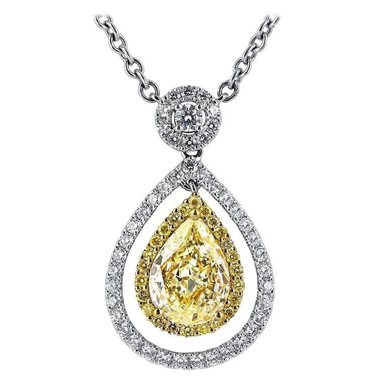 2.02 Carat Pear Shaped Canary Diamond Two Color Gold Pendant