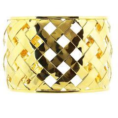 Gold Open Work Cuff Bracelet