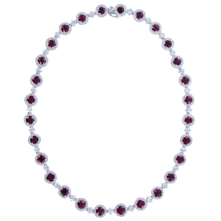 28.11 Carats Rubies Diamond Gold Cluster Necklace