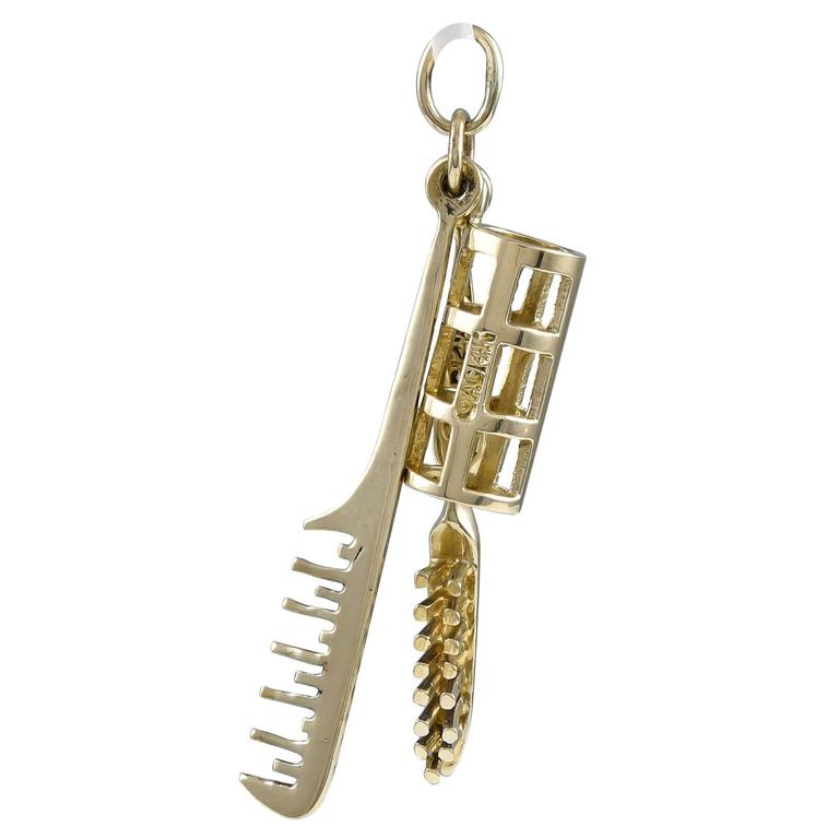 Fun Comb Brush and Roller Gold Charm
