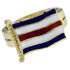 "Nautical ""C"" Enamel Gold Ring"