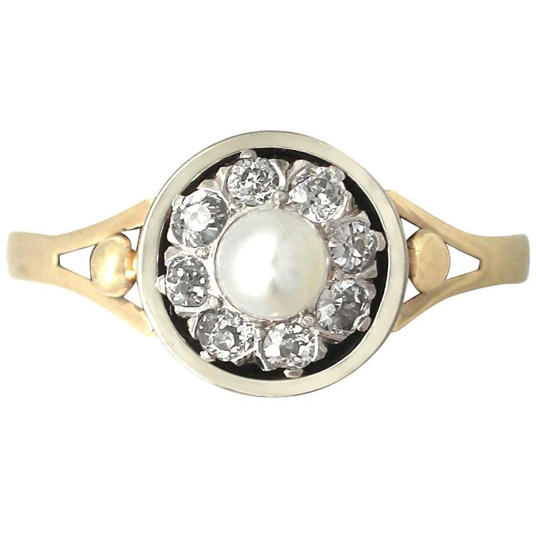 1920s Antique Pearl Diamond & Yellow Gold Dress Ring
