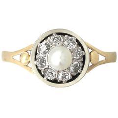 1920s Antique Pearl Diamond & Yellow Gold Dress Ring