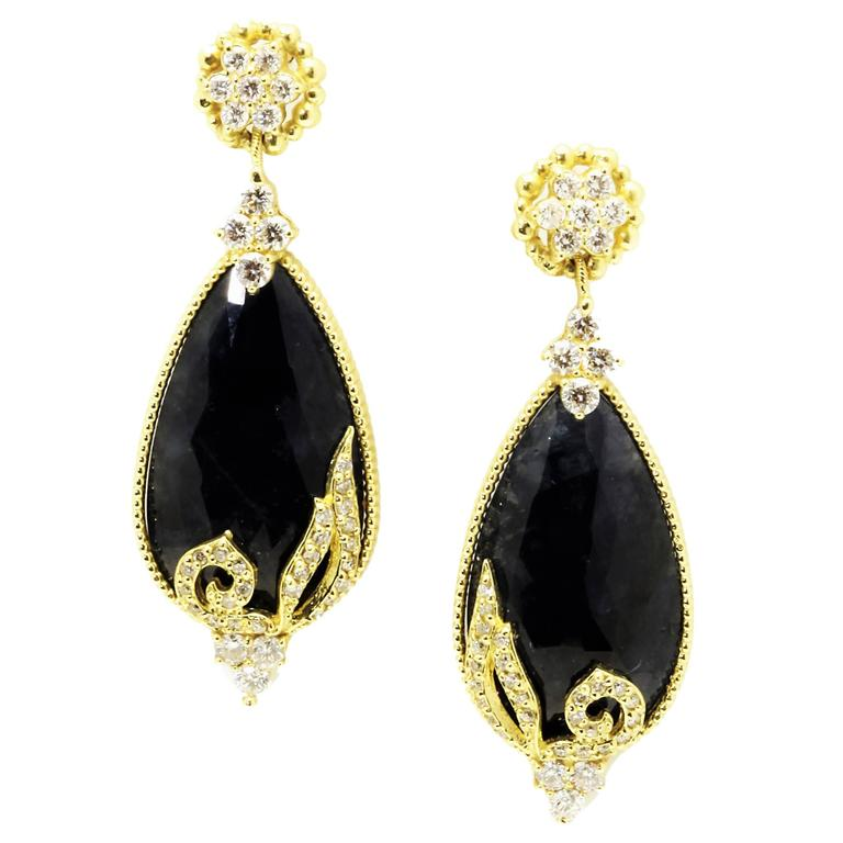 Stambolian Blue Sapphire Diamond Gold Drop Earrings 1