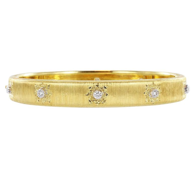 Buccellati Classica Diamond Gold Bangle Bracelet