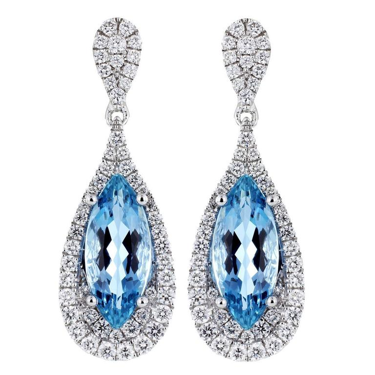 3.60 Carats Aquamarines Diamond Gold Tear Drop Shaped Earrings For Sale