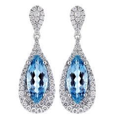 3.60 Carat Aquamarines Diamond Gold Tear Drop Shaped Earrings