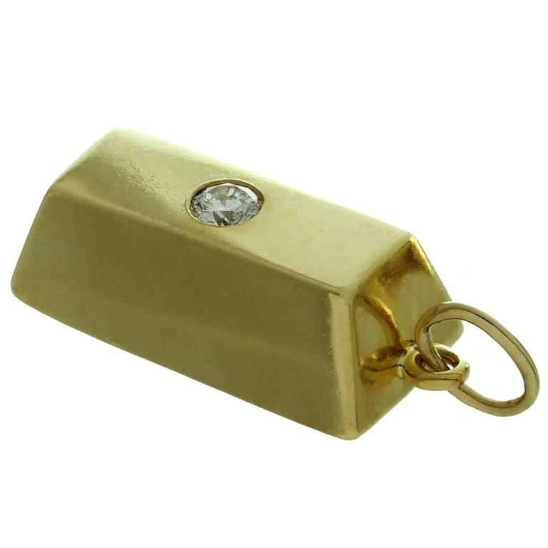 Cartier Diamond Gold 1 Ounce Solid Ingot Bar Pendant Charm