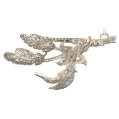 1.25Ct Diamond and 9k Yellow Gold, Silver Set Brooch - Antique Victorian