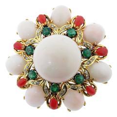 Vibrant Two Color Coral Emerald Diamond Gold Brooch