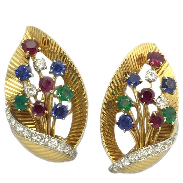 Cartier Ruby Emerald Sapphire Gold Leaf Ear Clips