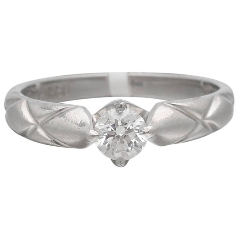 Chanel Matelasse Diamond Platinum Solitaire Ring