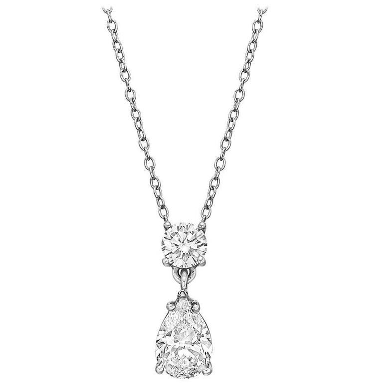 Round and Pear-Shaped Diamond Platinum Two Drop Pendant 1