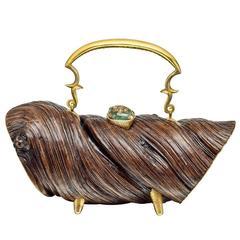 Lotus Arts de Vivre Carved Wood and Gem-Set Handbag