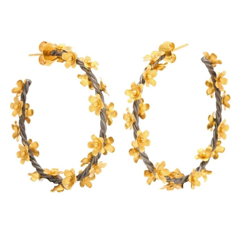 Silver Gold Floral Vine Hoop Earrings For Sale