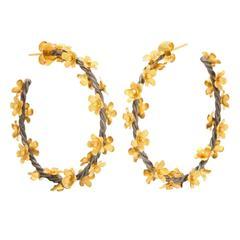 Silver Gold Floral Vine Hoop Earrings