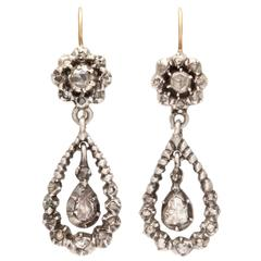 Antique Georgian Diamond Silver Gold Dangle Earrings