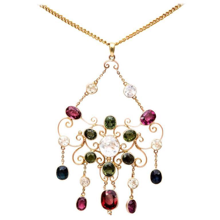 Victorian Gem Gold Necklace 1