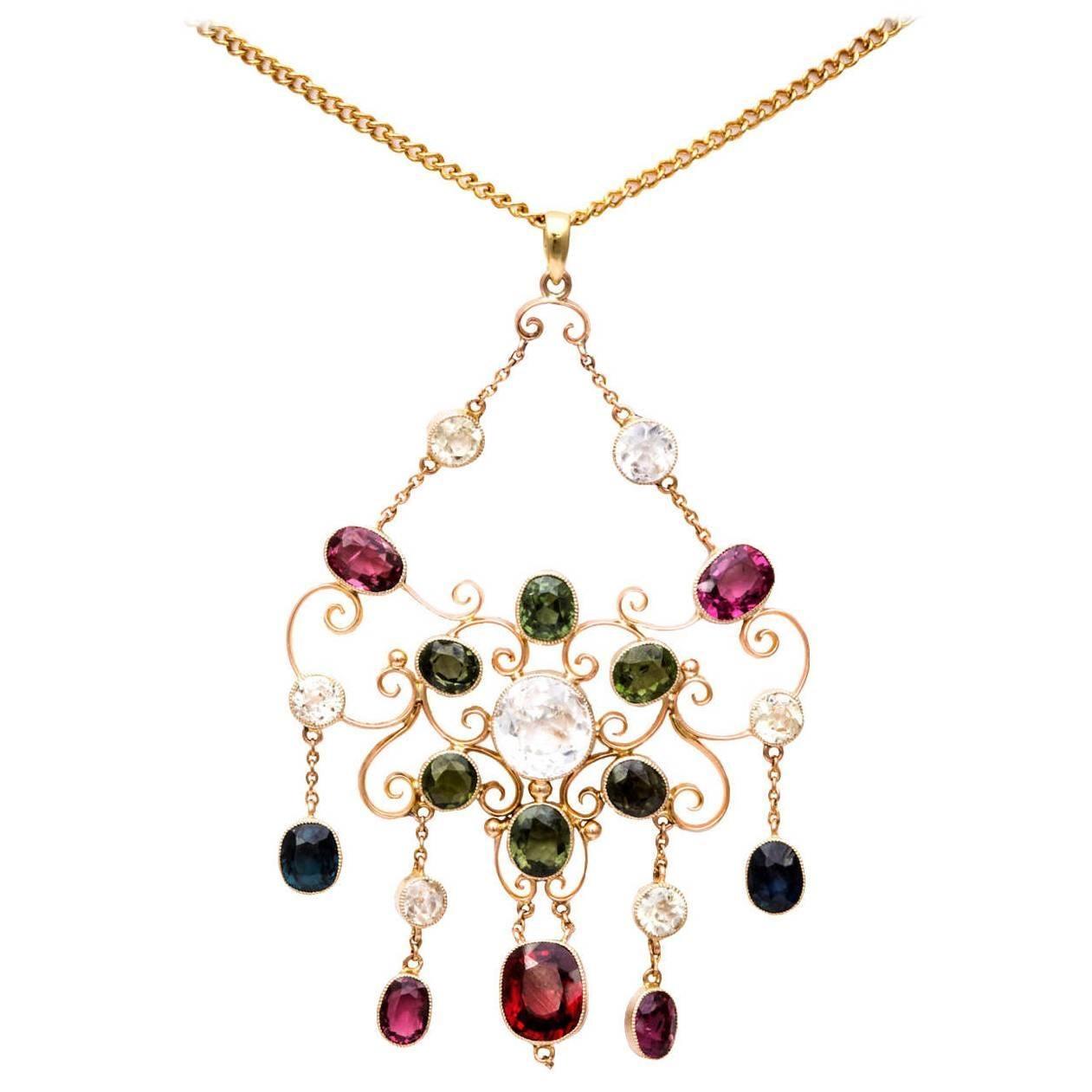 Victorian Gem Gold Necklace
