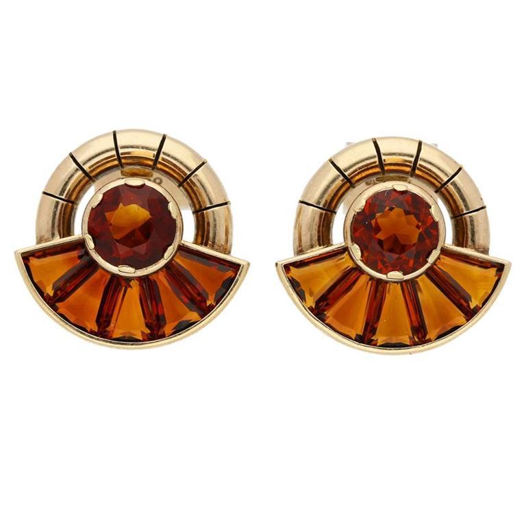 1950s English Citrine Gold Earrings