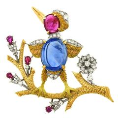 Cazzaniga No Heat Sapphire Ruby Diamond Gold Bird Brooch with AGL Report
