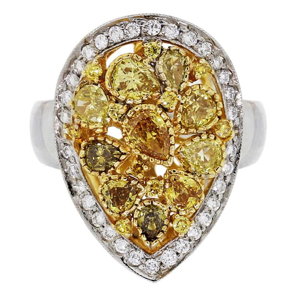 Pear Shape Yellow Diamond Two Color Gold Cluster Ring For Sale At 1stdibs
