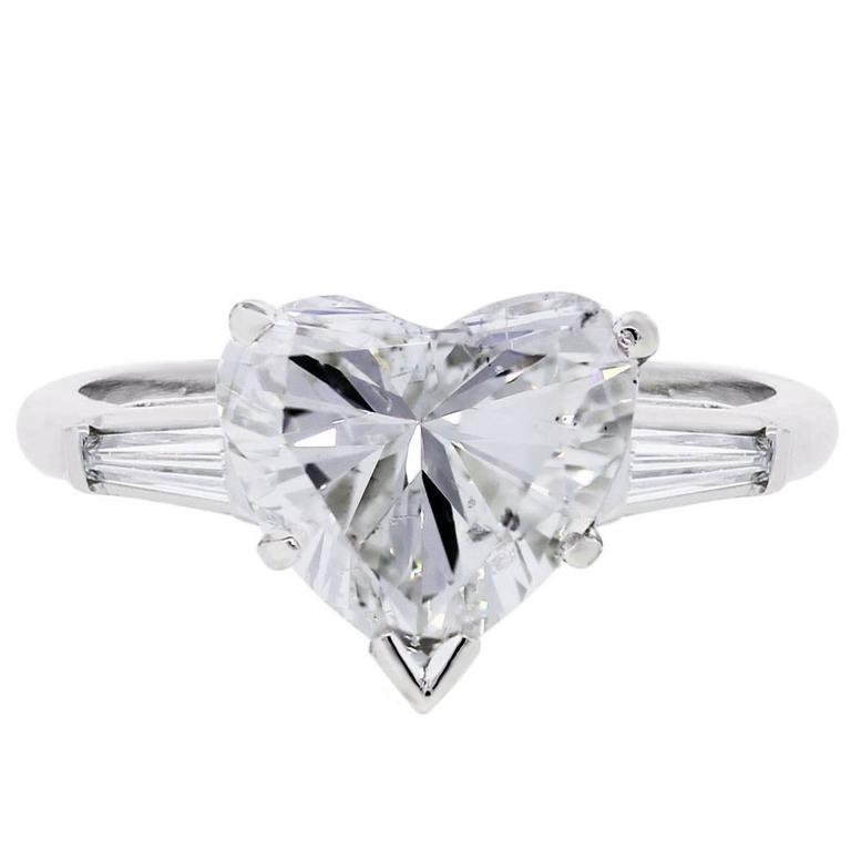 2 96 Carat Heart Shape Diamond Platinum Engagement Ring at 1stdibs