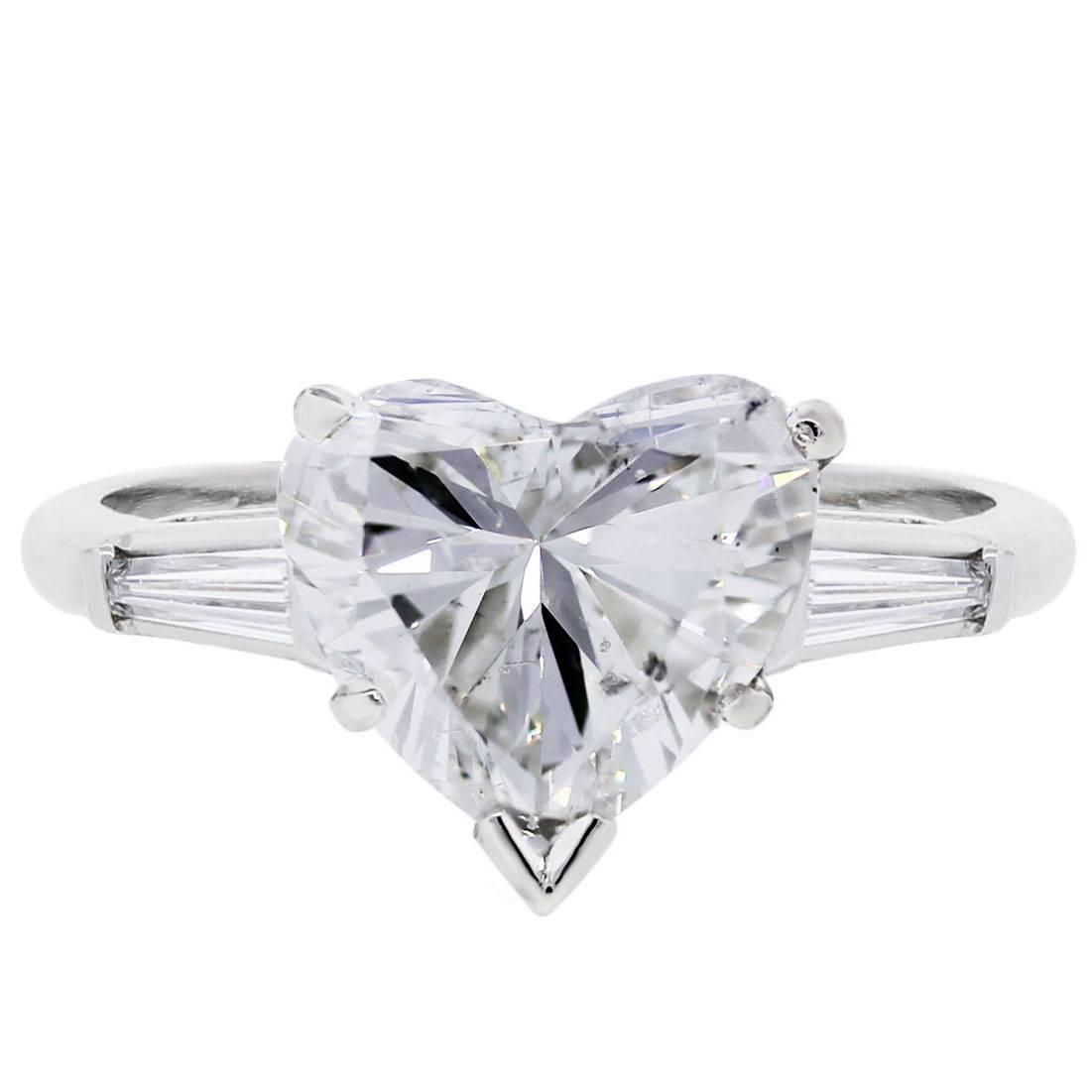 carat heart shape diamond platinum engagement ring at