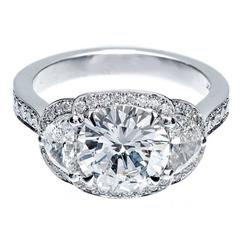 Peter Suchy Transitional Cut Diamond Platinum Halo Engagement Ring