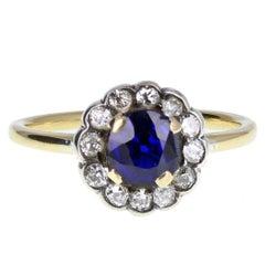 1920s Sapphire Diamond Gold Daisy Cluster Ring