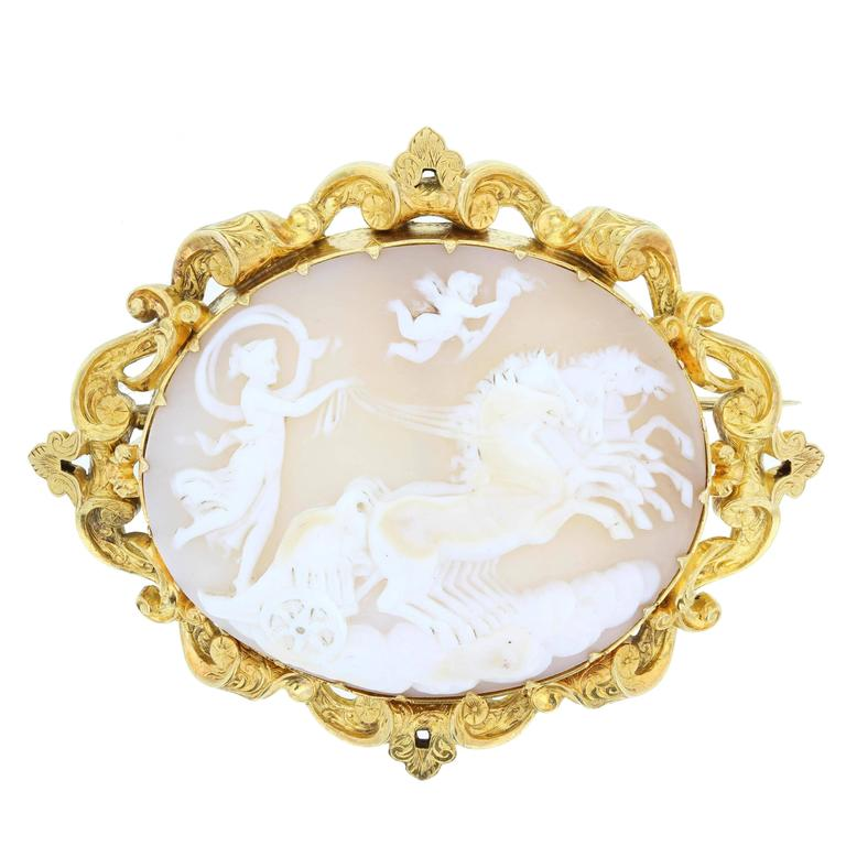 Antique Cameo Brooch Featuring Aurora Roman Goddess of the Dawn