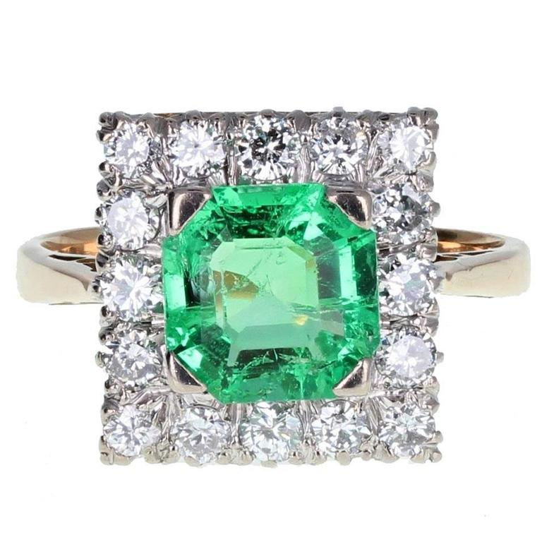 Square Emerald Diamond Gold Cluster Ring