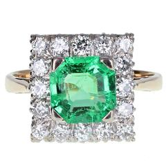 Square Emerald Diamond Gold Cluster Ring