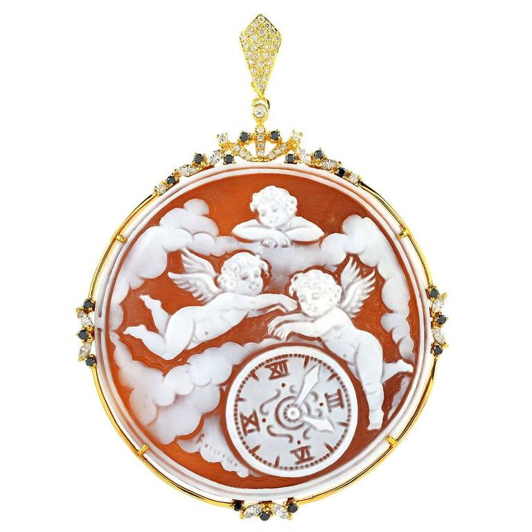 Shell Cameo Diamond Gold Angel Pendant