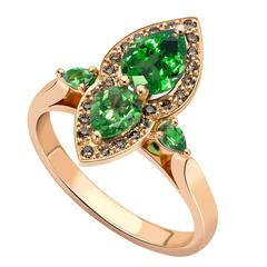 Ana De Costa Rose Gold Green Tsavorite Cognac Diamond Pear Engagement Ring