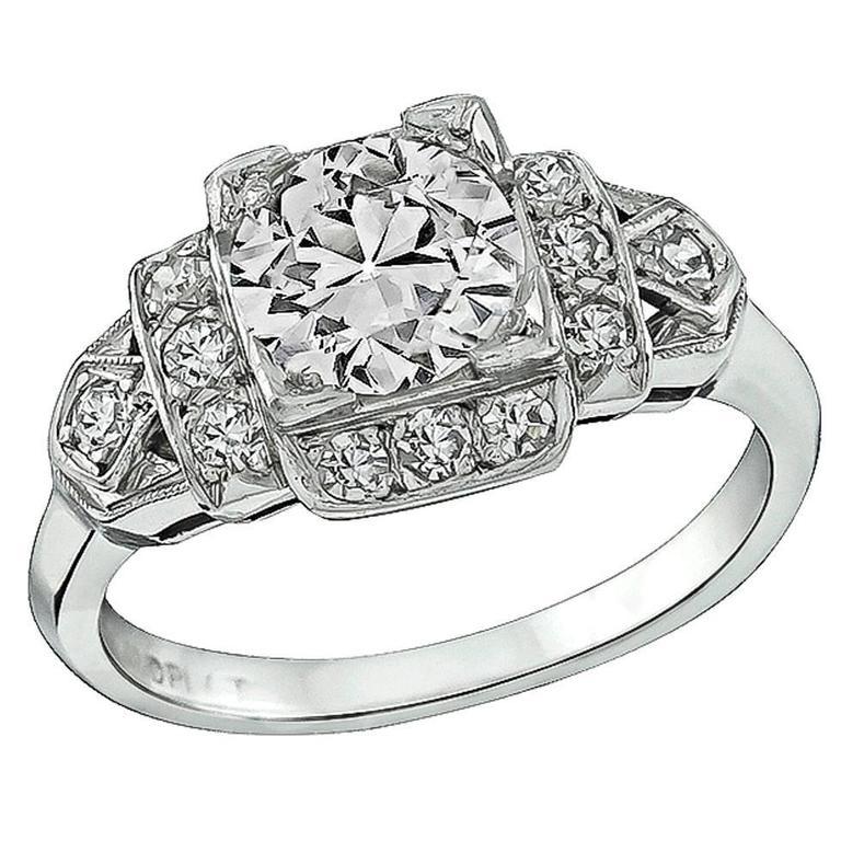 1.06 Carat Old European Cut Diamond Platinum Engagement Ring