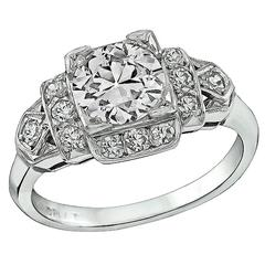 1.06 Carat Old European Cut Diamond Platinum Engagement Ring